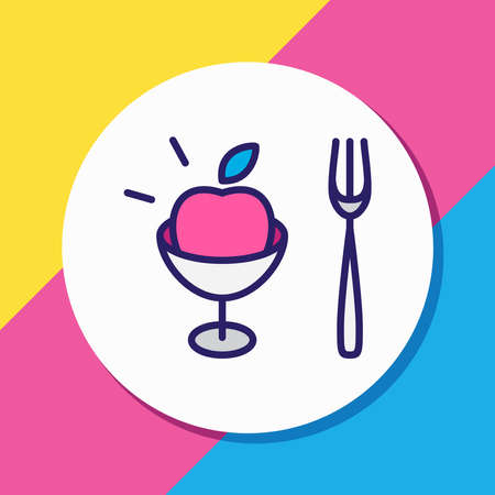 illustration of fruit fork icon colored line. Beautiful cutlery element also can be used as vegan icon element. Reklamní fotografie