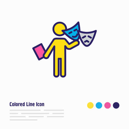illustration of acting icon colored line. Beautiful activities element also can be used as theater icon element. Reklamní fotografie