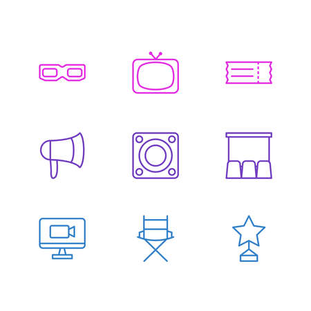 illustration of 9 cinema icons line style. Editable set of cinema, 3d glasses, ticket and other icon elements.