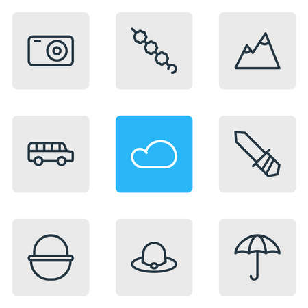 illustration of 9 camp icons line style. Editable set of bus, blade, camera and other icon elements. Reklamní fotografie
