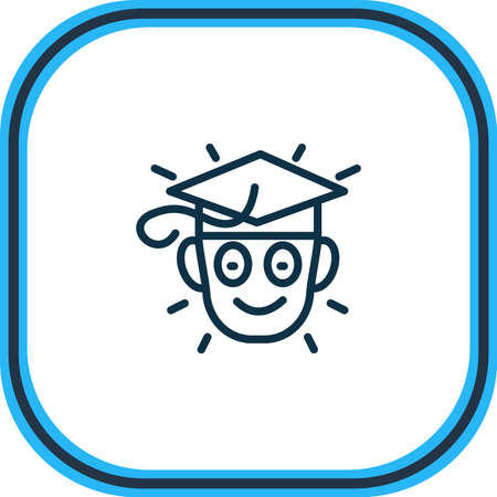 illustration of learning icon line. Beautiful emoticon element also can be used as graduate icon element.