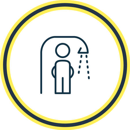 Vector illustration of showering man icon line. Beautiful toilet element also can be used as bathing icon element.