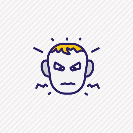 Vector illustration of annoyed icon colored line. Beautiful emoticon element also can be used as anger icon element.