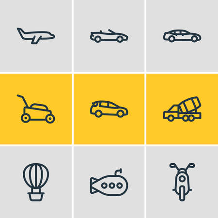 Vector illustration of 9 transit icons line style. Editable set of plane, air balloon, construction car and other icon elements.