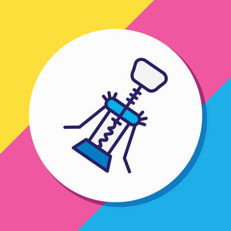 Vector illustration of corkscrew icon colored line. Beautiful utensil element also can be used as wine opener icon element.