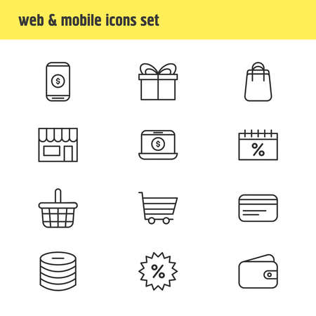 Vector illustration of 12 commerce icons line style. Editable set of basket, payment, credit card and other icon elements.