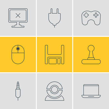 Vector illustration of 9 notebook icons line style. Editable set of floppy disk, plug, game controller and other icon elements.