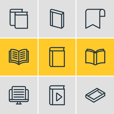 Vector illustration of 9 read icons line style. Editable set of study, article, ribbon and other icon elements. Ilustrace