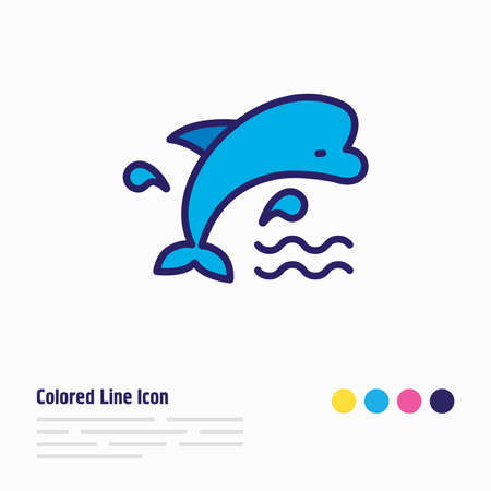 Vector illustration of mammal icon colored line. Beautiful nautical element also can be used as bottlenose dolphin icon element.