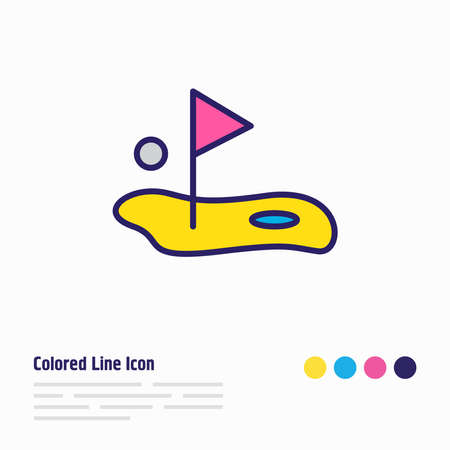 illustration of golf icon colored line. Beautiful activities element also can be used as flag icon element.