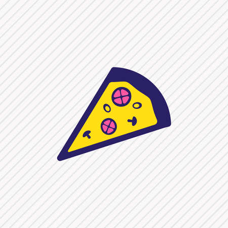 illustration of pizza slice icon colored line. Beautiful eating element also can be used as pizzeria icon element. Foto de archivo