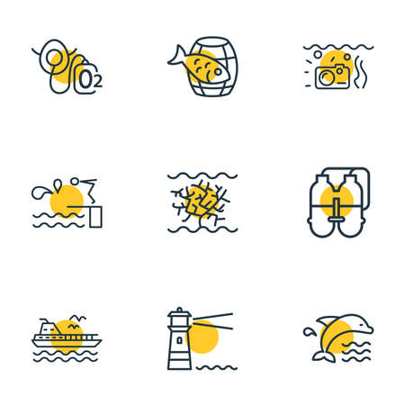 illustration of 9 nautical icons line style. Editable set of twin tank, dolphin, barrel of fish and other icon elements.