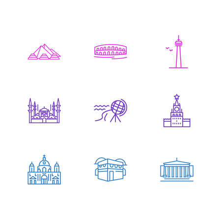 illustration of 9 history icons line style. Editable set of north cape, moscow, berlin cathedral and other icon elements. Foto de archivo