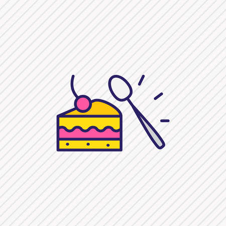 illustration of dessert spoon icon colored line. Beautiful utensil element also can be used as cake icon element.