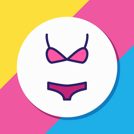 illustration of bikini icon colored line. Beautiful clothes element also can be used as swimsuit icon element.