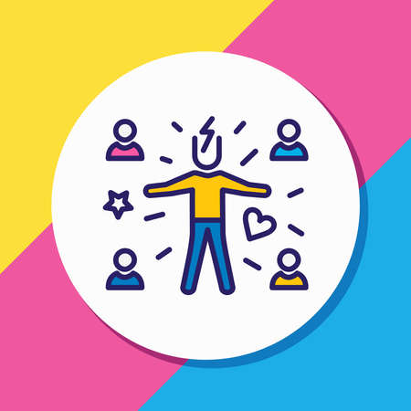 illustration of attract people icon colored line. Beautiful emoji element also can be used as attractive icon element. Reklamní fotografie - 157462696
