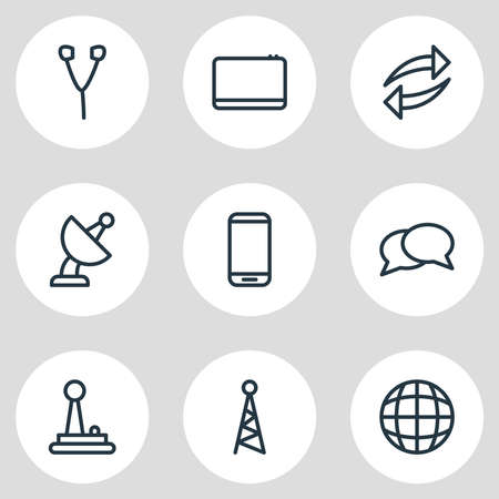 illustration of 9 media icons line style. Editable set of smartphone, joystick, tablet and other icon elements.