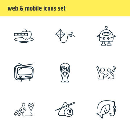 illustration of 9 entertainment icons line style. Editable set of kite, robots, diet and other icon elements.