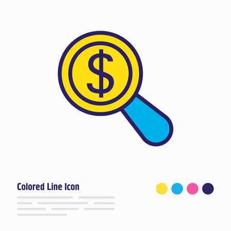 illustration of research icon colored line. Beautiful business element also can be used as magnifier icon element.