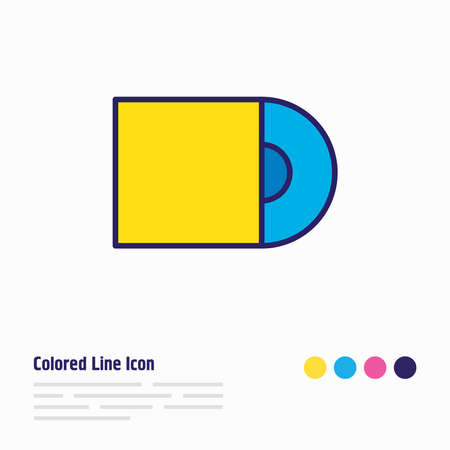 illustration of cd-rom icon colored line. Beautiful accessory element also can be used as compact disk icon element. Reklamní fotografie