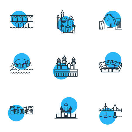 illustration of 9 world landmarks icons line style. Editable set of gateway arch, pond du garre, neuschwanstein castle and other icon elements. Reklamní fotografie - 157462776