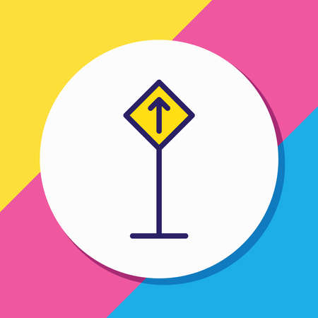 illustration of road sign icon colored line. Beautiful location element also can be used as guidepost icon element. Foto de archivo