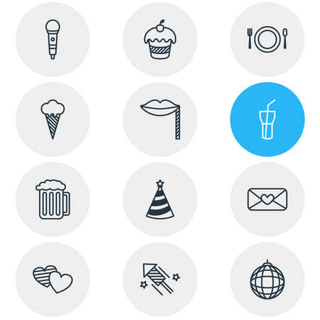 illustration of 12 banquet icons line style. Editable set of party hat, mail, dish and other icon elements.