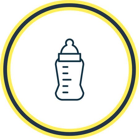 Vector illustration of baby bottle icon line. Beautiful baby element also can be used as newborn feeder icon element.
