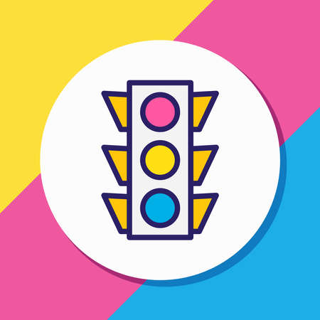 Vector illustration of traffic lights icon colored line. Beautiful location element also can be used as stoplight icon element.