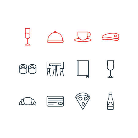 Vector illustration of 12 eating icons line style. Editable set of credit, restaurant, champagne and other icon elements. Vectores