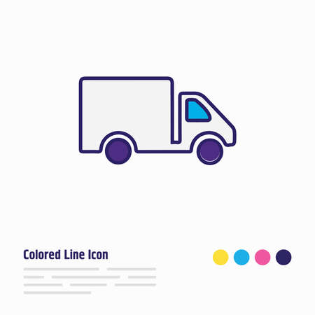 Vector illustration of truck icon colored line. Beautiful transport element also can be used as van icon element. Vectores