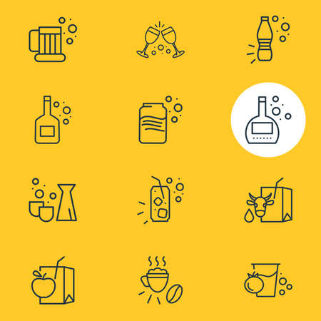 Vector illustration of 12 drink icons line style. Editable set of juice box, tomato juice, beer mug and other icon elements. Vectores