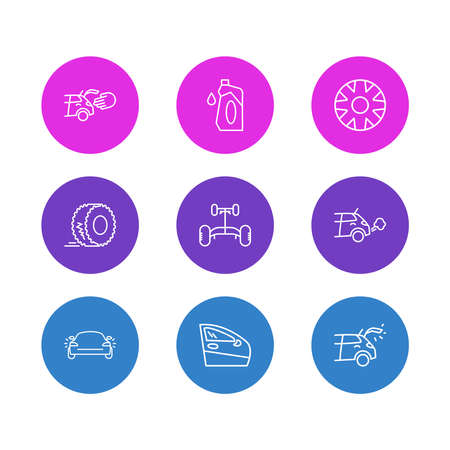 Vector illustration of 9 car icons line style. Editable set of car chassis, hubcap, door and other icon elements.