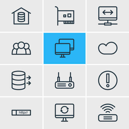 Vector illustration of 12 network icons line style. Editable set of vpn, users, router and other icon elements.