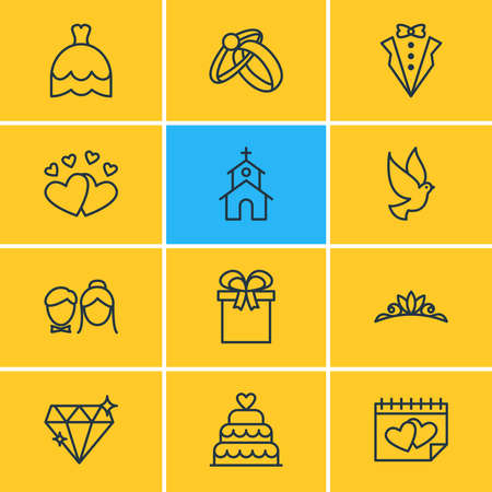 Vector illustration of 12 marriage icons line style. Editable set of crown, diamond, just married and other icon elements.