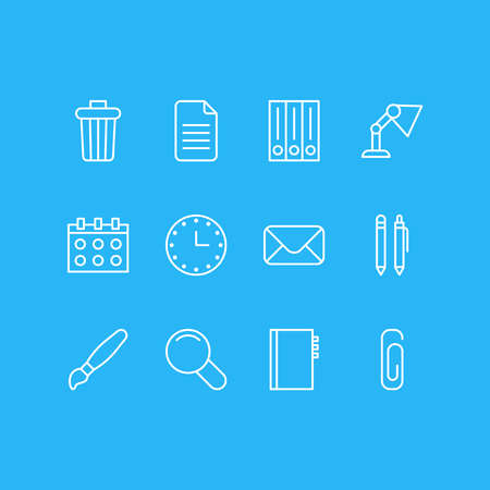 Vector illustration of 12 stationery icons line style. Editable set of envelope, pen, library and other icon elements.
