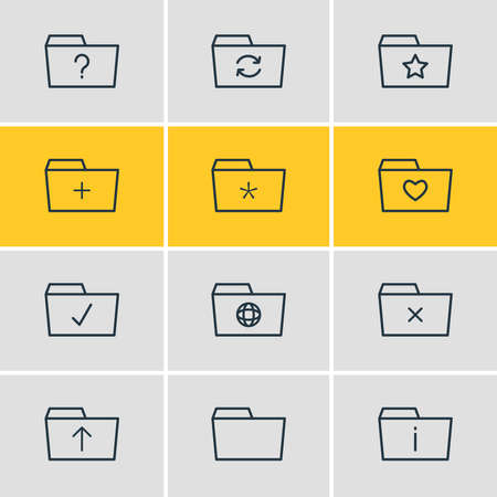 Vector illustration of 12 dossier icons line style. Editable set of checked, folder, favorite and other icon elements.