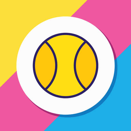 Vector illustration of tennis ball icon colored line. Beautiful athletic element also can be used as sport icon element. Vectores