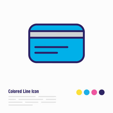 Vector illustration of credit card icon colored line. Beautiful wholesale element also can be used as debit icon element.