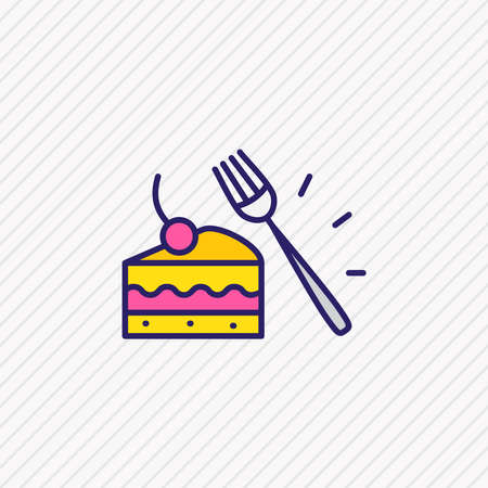 Vector illustration of dessert fork icon colored line. Beautiful utensil element also can be used as pastry icon element.