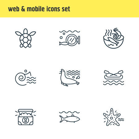 Vector illustration of 9 naval icons line style. Editable set of sea lion, canoe, sea turtle and other icon elements.