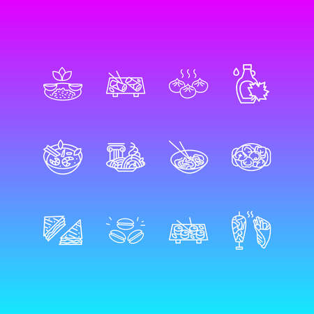 Vector illustration of 12 world cuisine icons line style. Editable set of vietnamese spring rolls, japanese sushi, italian pasta bolognese and other icon elements. Vectores