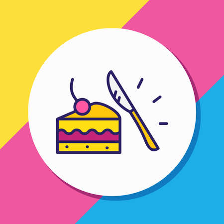 Vector illustration of dessert knife icon colored line. Beautiful cutlery element also can be used as piece of cake icon element.
