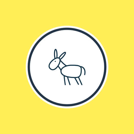 Vector illustration of donkey icon line. Beautiful zoology element also can be used as mule icon element.