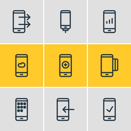 Vector illustration of 9 smartphone icons line style. Editable set of network, add, weather and other icon elements.