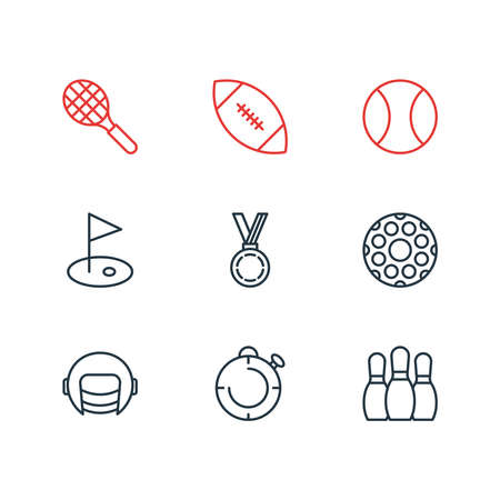 Vector illustration of 9 sport icons line style. Editable set of ball, pins, stopwatch and other icon elements. Reklamní fotografie - 158380385