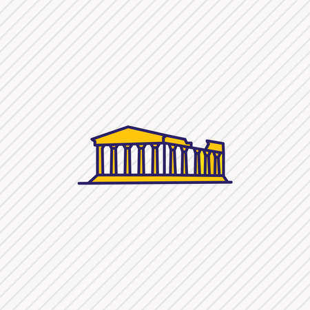 Vector illustration of acropolis icon colored line. Beautiful culture element also can be used as athens icon element. Vectores