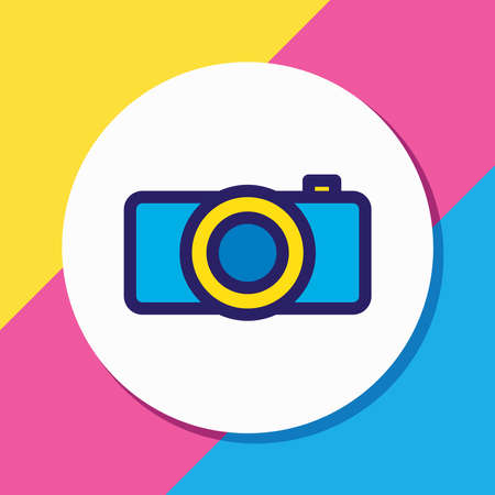 Vector illustration of camera icon colored line. Beautiful hobby element also can be used as photography icon element. Reklamní fotografie - 158380403