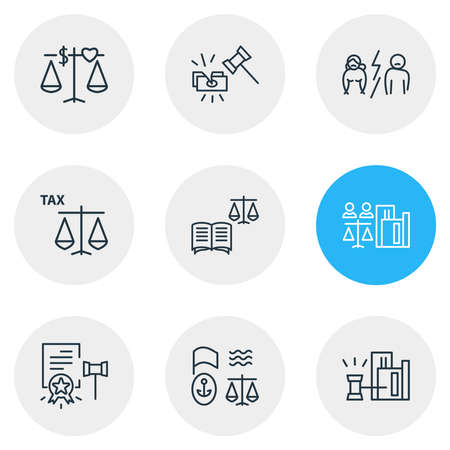 Vector illustration of 9 law icons line style. Editable set of tax law, law book, real estate law and other icon elements. Vectores