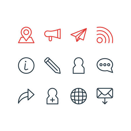 Vector illustration of 12 community icons line style. Editable set of receive mail, globe, conversation and other icon elements.